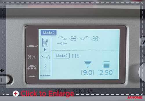 Janome 6700P LCD screen